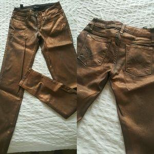 Bebe Metallic Copper Jean's XS 25 27